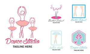 芭蕾舞人物等剪影创意标志矢量素材