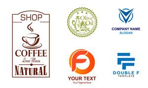 冒着热气的咖啡等主题标志矢量素材
