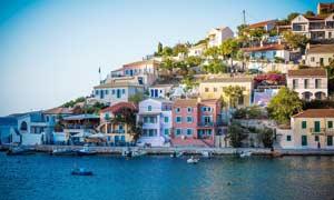 希腊海边小镇景观摄影图片