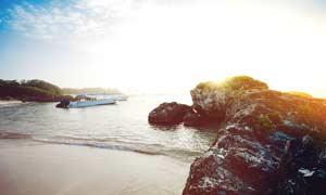 阳光下的沙滩和岩石摄影图片