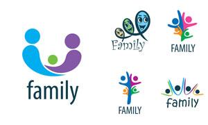 人形元素家庭概念标志创意矢量素材
