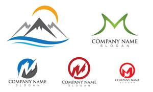 山峰与字母等元素标志设计矢量素材