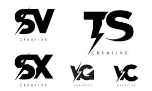 闪电元素字母组合的标志矢量素材V2