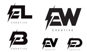 闪电元素字母组合的标志矢量素材V4