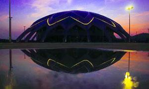衡山體育館黃昏美景攝影圖片