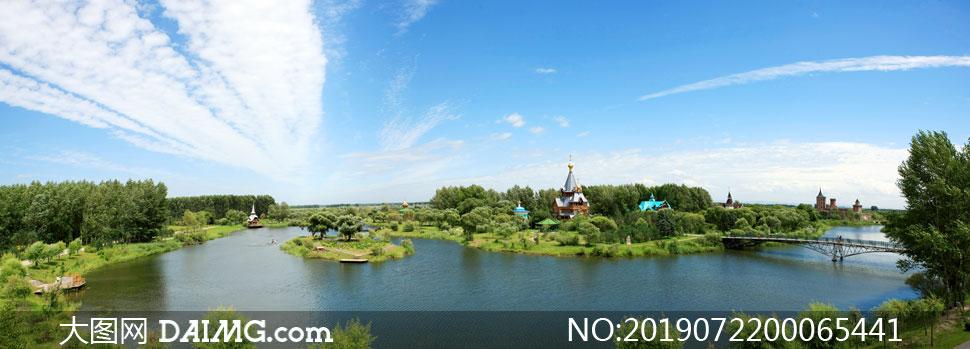 伏尔加庄园河流景观美景摄影图片