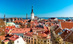 欧式海边的城市景观摄影图片