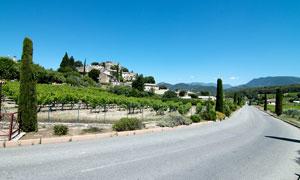 村前通往大山的马路摄影图片