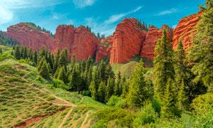 山谷绿色草地和悬崖摄影图片