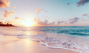 夕阳下的海边沙滩和海浪摄影图片