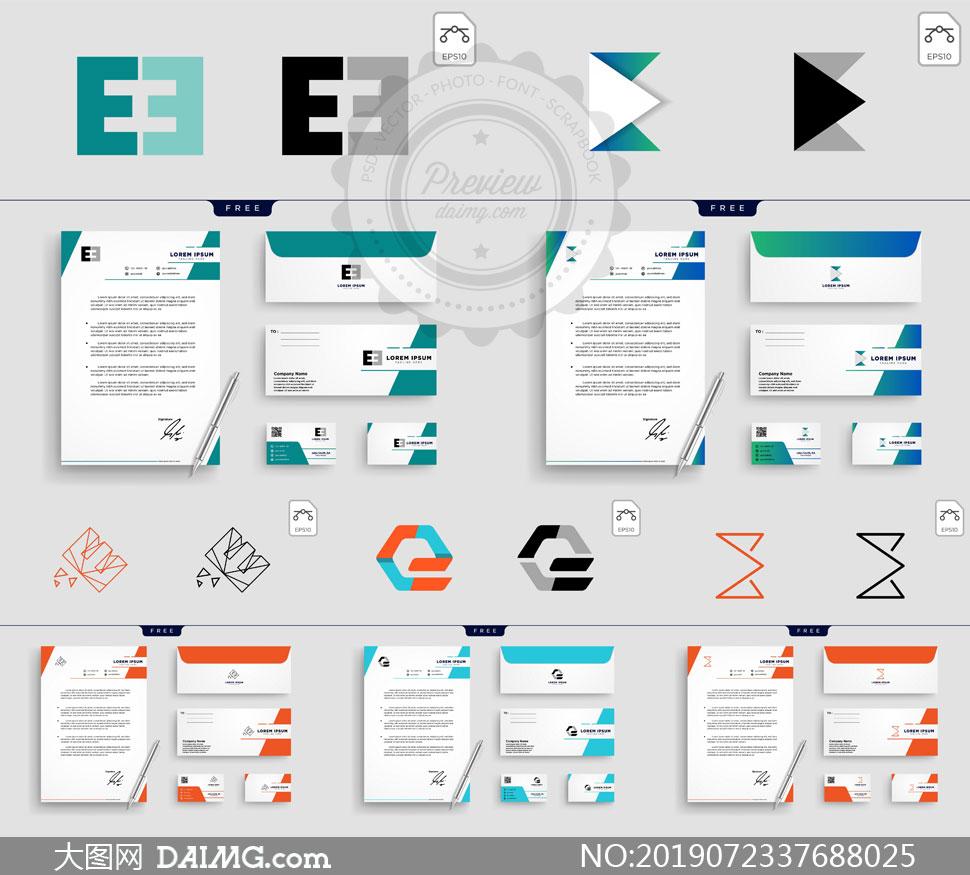 标志及其名片版式设计矢量素材V099