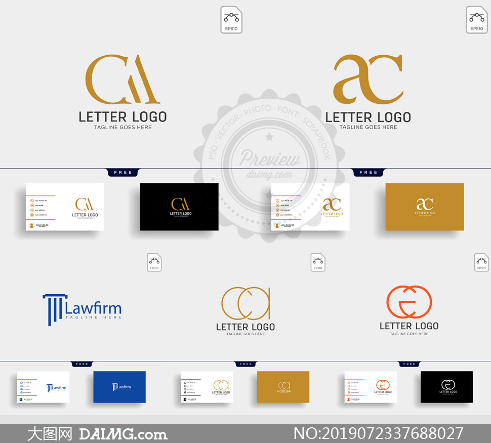 标志及其名片版式设计矢量素材V101