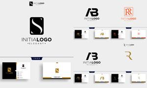 标志及其名片版式设计矢量素材V102