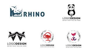 熊貓與犀牛等元素標志創意矢量素材