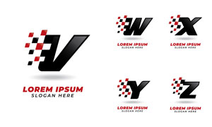 红黑方块字母标志设计矢量素材集V1