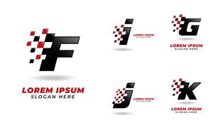 红黑方块字母标志设计矢量素材集V3