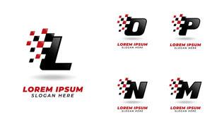 红黑方块字母标志设计矢量素材集V4