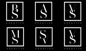黑白配色字母组合标志矢量素材集V1
