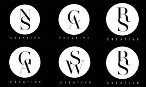 黑白配色字母组合标志矢量素材集V2