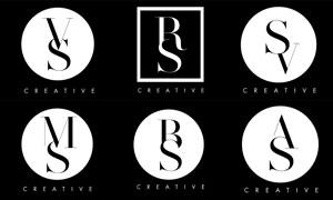 黑白配色字母組合標志矢量素材集V3