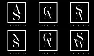 黑白配色字母組合標志矢量素材集V4