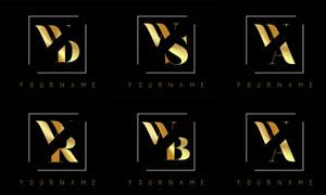 金色雙字母組合創意標志矢量素材V1