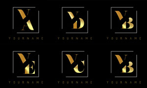 金色雙字母組合創意標志矢量素材V2