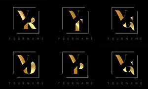 金色雙字母組合創意標志矢量素材V3