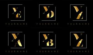 金色雙字母組合創意標志矢量素材V4