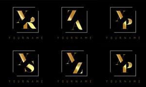 金色雙字母組合創意標志矢量素材V5