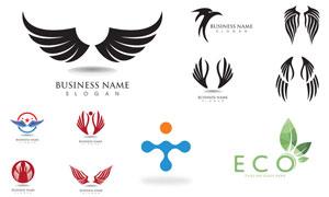 環保綠葉與翅膀等標志設計矢量素材