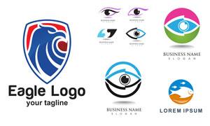 眼睛游魚與鷹元素標志設計矢量素材