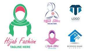 穆斯林頭巾與房屋標志設計矢量素材
