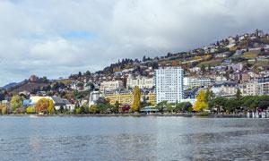 北欧海边城镇建筑摄影图片