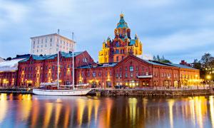 北欧水上城市美丽夜景摄影图片