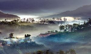 云霧繚繞山坡村莊景觀攝影圖片