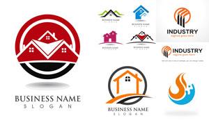 房屋建筑物與工業生產標志矢量素材