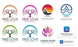 樹木與手勢等標志創意設計矢量素材