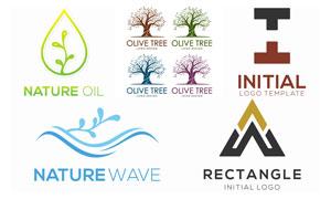 曲線與樹木等元素標志設計矢量素材