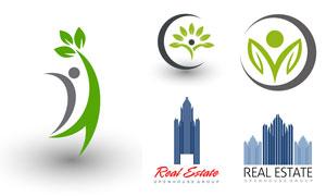 綠葉環保與房地產創意標志矢量素材