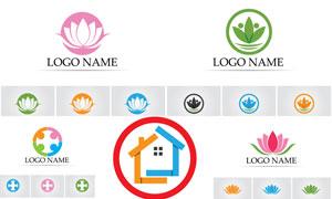 房子與葉子等元素標志創意矢量素材