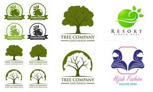 樹木橄欖與頭巾等標志設計矢量素材