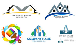 房屋建筑物与刷子创意标志矢量素材