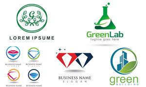 钻石与绿叶等元素标志创意矢量素材