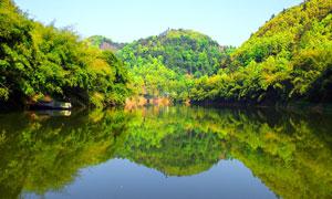 越溪河和山林湖泊美景摄影图片