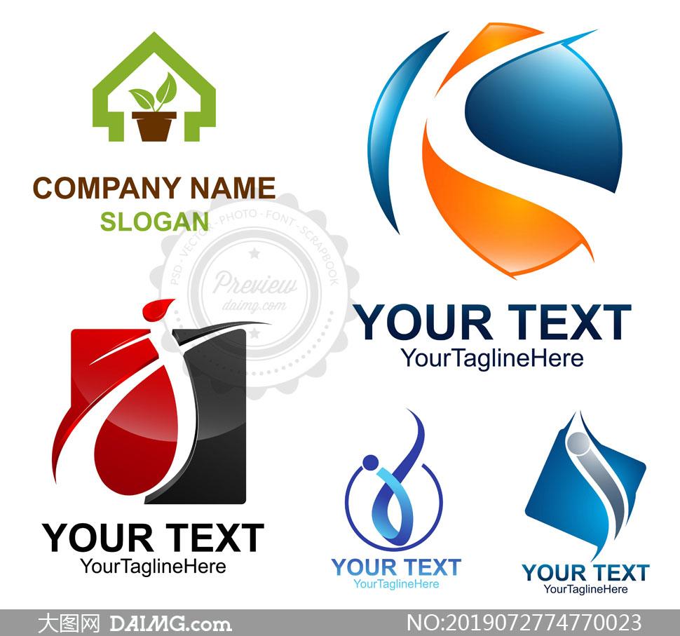 曲线字母元素标志创意设计矢量素材图片