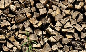 堆叠摆放着的木头特写摄影高清图片