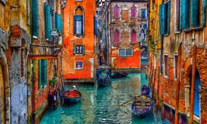 油畫效果呈現的水城威尼斯高清圖片