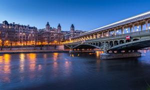 城市景观廊桥黄昏风光摄影高清图片