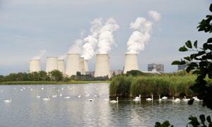 游水天鹅与湖边发电厂摄影高清图片